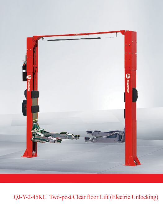 QJ-Y-2-45KC Two-post Clear floor Lift (Electric Unlocking)